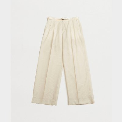 <img class='new_mark_img1' src='https://img.shop-pro.jp/img/new/icons47.gif' style='border:none;display:inline;margin:0px;padding:0px;width:auto;' />TWO TUCKS WIDE PANTS WITH BELT / IVORY STRIPE