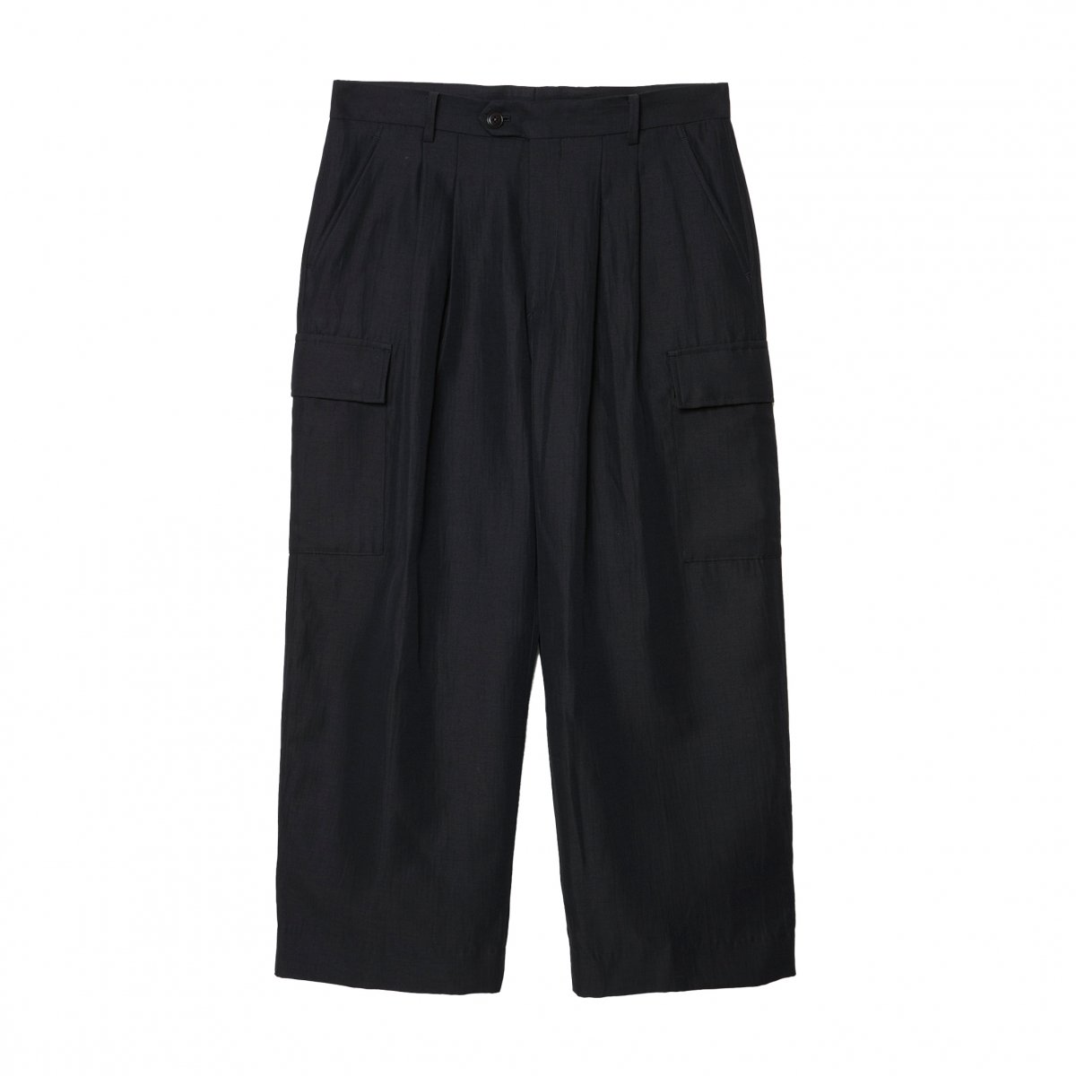 <img class='new_mark_img1' src='https://img.shop-pro.jp/img/new/icons5.gif' style='border:none;display:inline;margin:0px;padding:0px;width:auto;' />DOUBLE WEAVE WIDE CARGO TROUSERS / BLACK