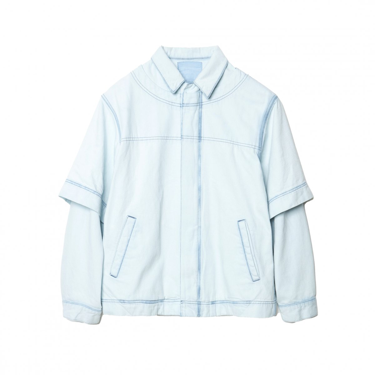 <img class='new_mark_img1' src='https://img.shop-pro.jp/img/new/icons5.gif' style='border:none;display:inline;margin:0px;padding:0px;width:auto;' />PULL OVERED DENIM BLOUSON / ICE GREY