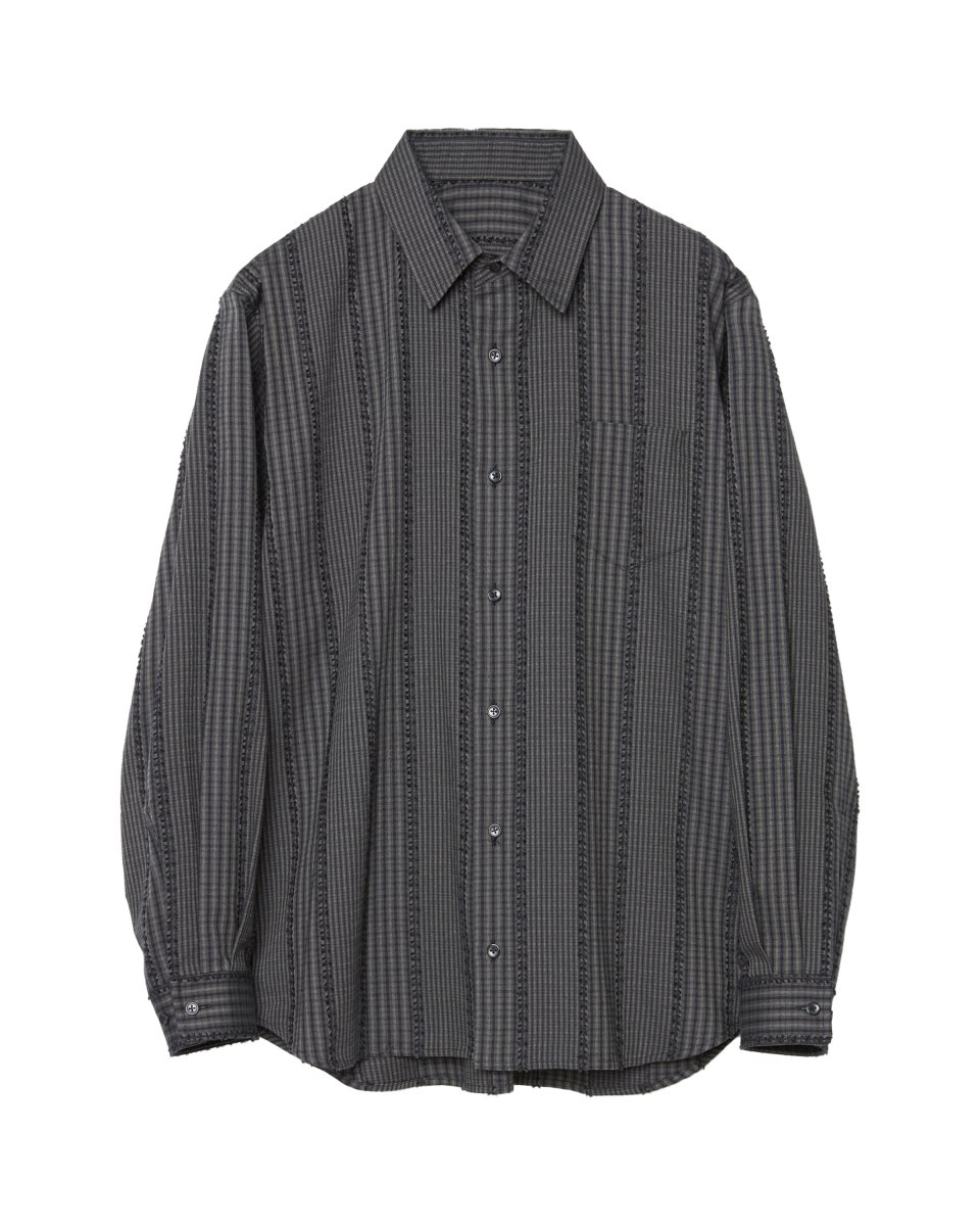 <img class='new_mark_img1' src='https://img.shop-pro.jp/img/new/icons5.gif' style='border:none;display:inline;margin:0px;padding:0px;width:auto;' />【2021AW】PANEL PLANGE CHECK SHIRT | BLACK