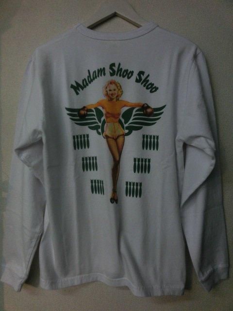 """バズリクソン  L/STシャツ ピンナップガール """"MADAM SHOO SHOO""""    BR67781-101 ホワ…"""