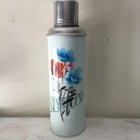 *china vintage*魔法瓶0.8L(薄水色・グリーンライン入り花)