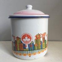 *china vintage*ホーロー蓋つきカップ(マカオ返還)