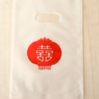 *china pop*ビニールお買いもの袋ランタン柄5枚セット(白)