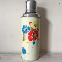 *china vintage*魔法瓶0.6L(薄水色系・カラフル花)