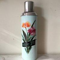 *china retro*チャイナレトロ魔法瓶0.8L(薄水色系・黒ライン入り花)