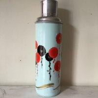 *china retro*チャイナレトロ魔法瓶0.8L(薄水色系・黒と赤の花)