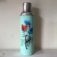 *china vintage*魔法瓶0.8L(やや濃い水色系・グリーンライン入り花)