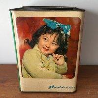 *china retro*中国ヴィンテージ缶(四角・女の子とビスケット)
