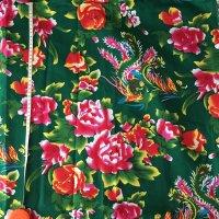 *china retro*東北大花布(牡丹と鳳凰柄・緑)