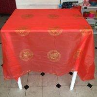 *china retro*赤いビニールテーブルクロス(ダブルハピネス)