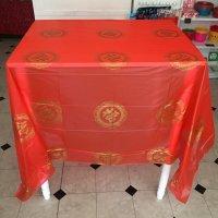 *china retro*赤いビニールテーブルクロス(福)