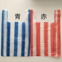 *china retro*ストライプビニール袋10枚セット(青/赤)