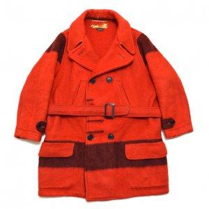 50'S HUDSON'S BAY/ハドソンベイ イングランド製 赤黒 ヴィンテージブランケットコート 【L相当】