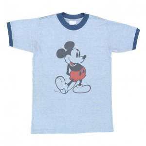 70'S MICKEY MOUSE ミッキーマウス ディズニー 青霜降り トリム ヴィンテージTシャツ 【M相当】