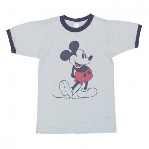 70'S MICKEY MOUSE ミッキーマウス ディズニーオフィシャル 霜降りグレー ヴィンテージTシャツ 【M相当】