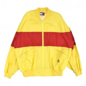 <img class='new_mark_img1' src='https://img.shop-pro.jp/img/new/icons50.gif' style='border:none;display:inline;margin:0px;padding:0px;width:auto;' />80'S TOMMY HILFIGER トミーヒルフィガー カラフル 赤黄 ナイロンジャケット 【XL】