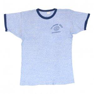 60'S CHAMPION チャンピオン プロダクツタグ 青霜降り 染み込みプリント ヴィンテージTシャツ 【L】