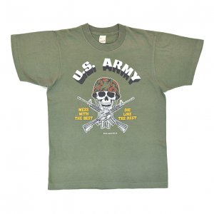 <img class='new_mark_img1' src='https://img.shop-pro.jp/img/new/icons12.gif' style='border:none;display:inline;margin:0px;padding:0px;width:auto;' />1984 U.S.ARMY スカル ガンズ ミリタリー ヴィンテージTシャツ 【M】