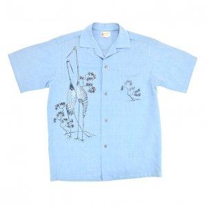 50'S KRAMER'S HONOLULU 和柄 鶴 松 ヴィンテージシャツ 【S】