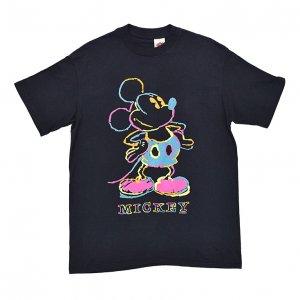 80'S MICKEY MOUSE ミッキーマウス ディズニー ネオンライト ヴィンテージTシャツ 【L】