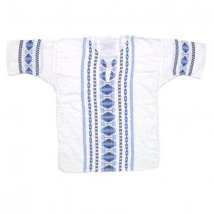 ガテマラエスニックシャツ 刺繍 青白 チュニック 【M相当】