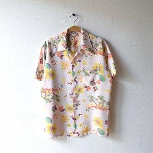 50'S ハワイ花柄 パームツリー柄 レーヨン 袋襟 ヴィンテージアロハシャツ 【M相当】