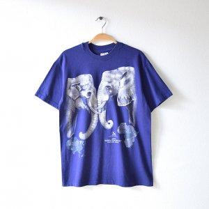 90'S WASHINGTON PARK ZOO 象柄 エレファント ビッグプリント 動物園 USA製 紫 ヴィンテージTシャツ 【M】