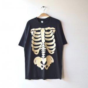 80'S スカル だまし絵 骨 ボーン 美品 USA製 大判プリント ブラックライト ヴィンテージTシャツ 【XL】