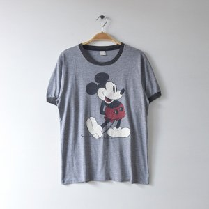 70'S MICKEY MOUSE ミッキーマウス WALT DISNEY リンガー ディズニーオフィシャル ヴィンテージTシャツ 【M相当】