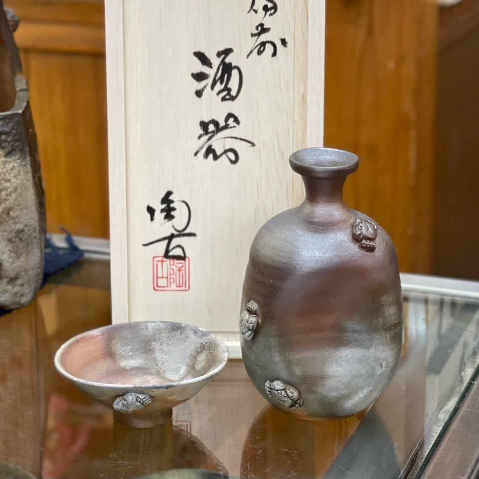 盃のカニさん酒器セット(木箱付き)