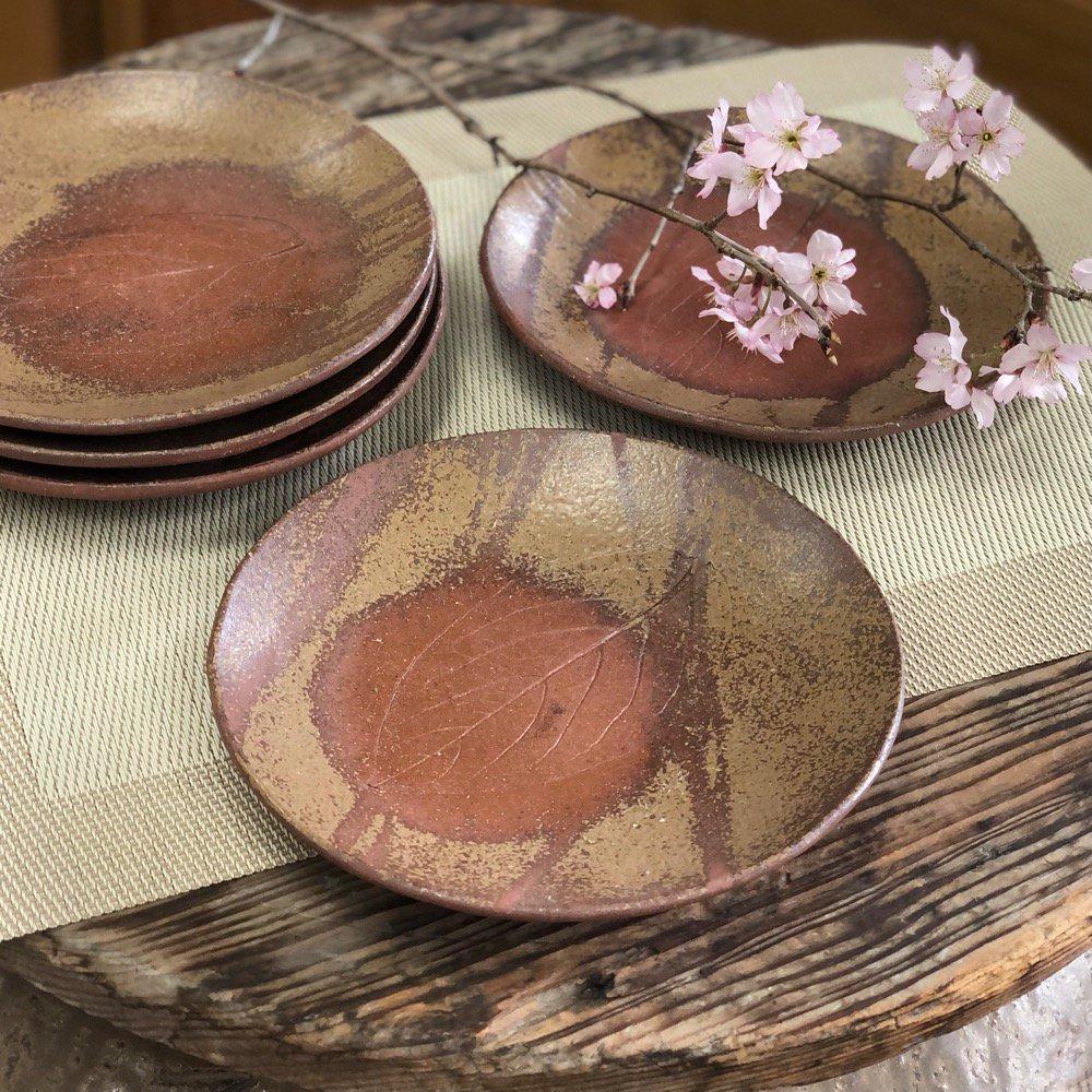 木の葉模様の丸皿5枚セット