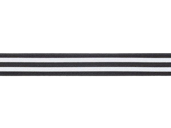 ストレッチテープ パイピング 光沢あり 15mm幅 ストライプ柄ブラック/ホワイト