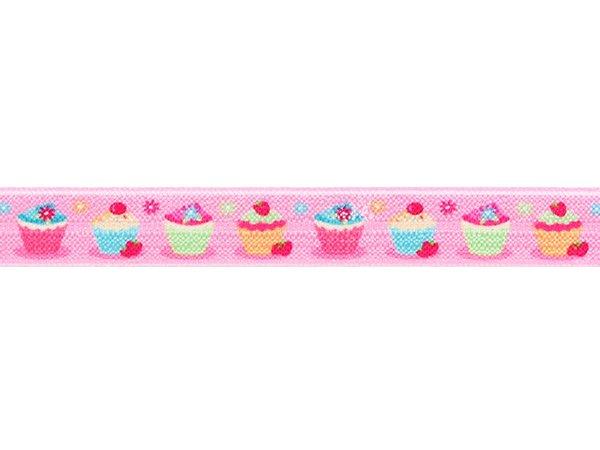 ストレッチテープ(FOE) 光沢あり 15mm幅 フラワーカップケーキ柄ピンク系