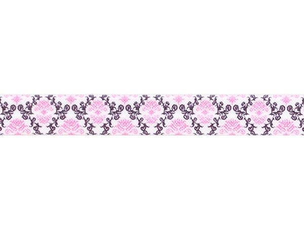 ストレッチテープ(FOE) 15mm幅 ダマスク柄 ブラック/ピンク