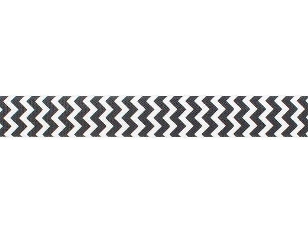 ストレッチテープ(FOE) 15mm幅 ジグザグストライプ ホワイトxブラック