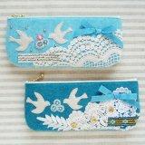 ポーチ★Lovely Bird ブルー/アクア
