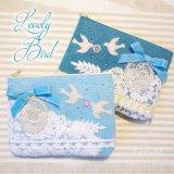 ポーチ・大★Lovely Bird ブルー/アクア