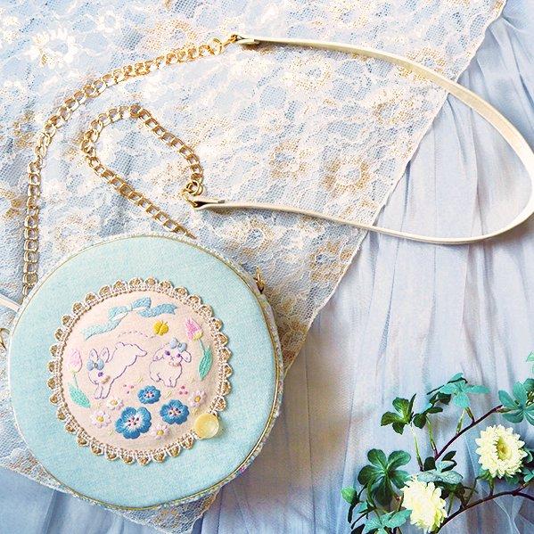 追加受注【まんまるポシェット】スピカピカコラボ第3弾・うさぎ姉妹と青い花の魔法