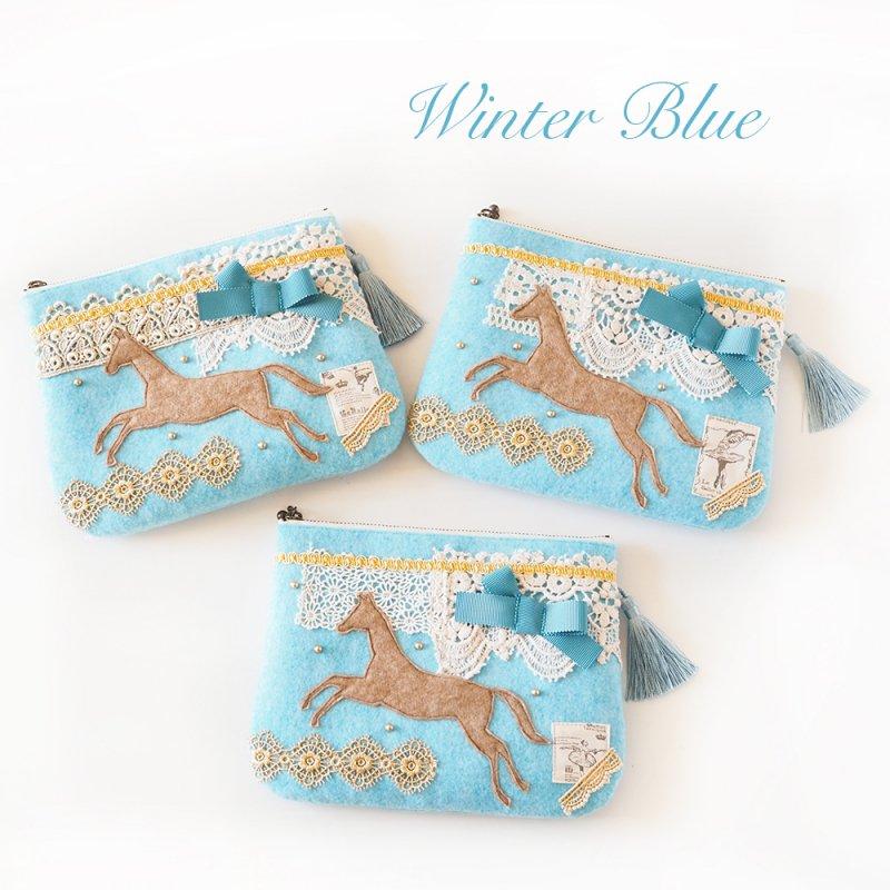 フェルトポーチ・Winter blue・馬 アクア