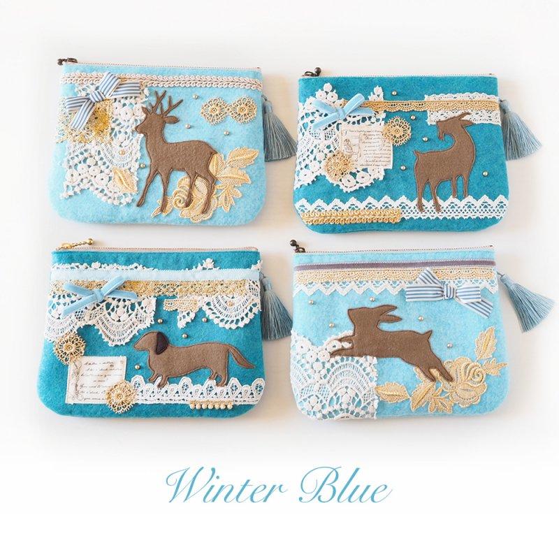 フェルトポーチ・Winter blue・ウサギ/シカ/ヤギ/イヌ
