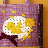 A4マチありバッグ「花占い/パープル」