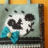A4マチありバッグ「花占い/ブルーグリーン」