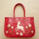 ★鹿踊りのはじまり レザーバッグ カラー・赤