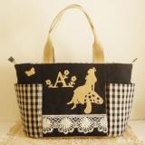 ★Alice garden・黒・チェック★不思議の国のアリスのマザーズバッグ