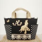 ★Alice garden・黒・ドット★不思議の国のアリスのマザーズバッグ