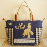 受注製作★Alice garden・ネイビー★不思議の国のアリスのマザーズバッグ
