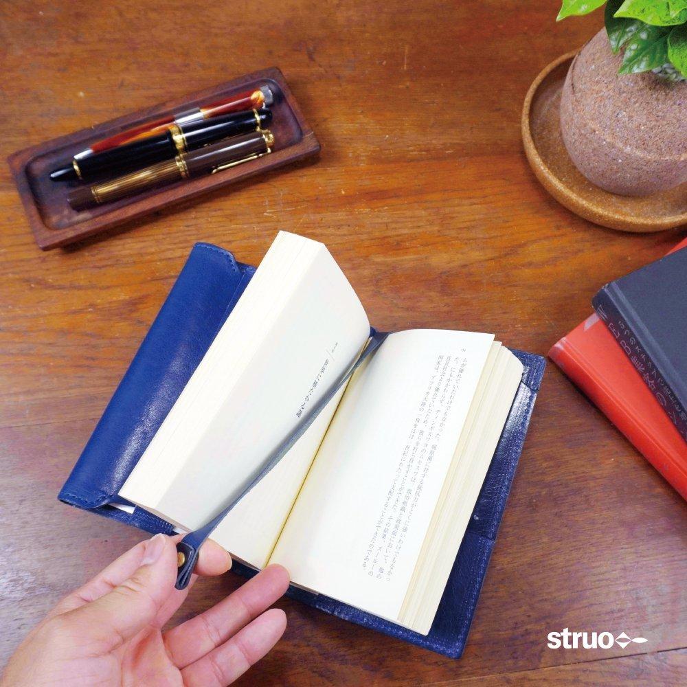 革のブックカバー新書用しおり付き薄型