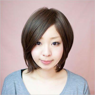 フルウィッグ-サラサラ前髪長めショート-根元グラデーション/ナチュラルマロンブラウン-ワイドつむじ型