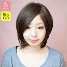 Sサイズ【小さいウィッグ】サラサラ前髪長めショート-根元グラデーション/ナチュラルマロンブラウン-ワイドつむじ型